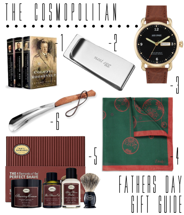 Gifts for the father who loves pocket squares, shoe horns, reading, money clips, watches and shaving.