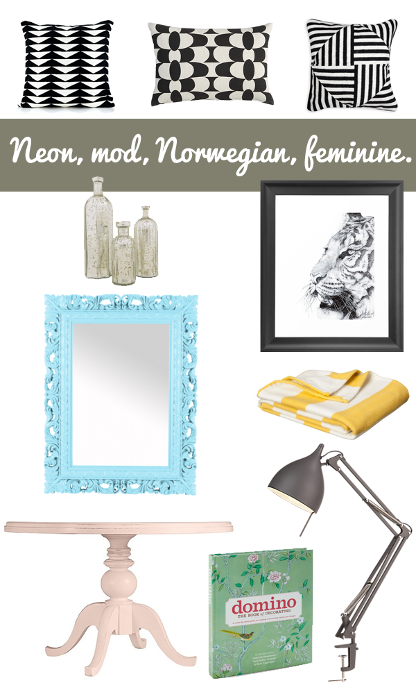 mod, bright, geometric, feminine, fun