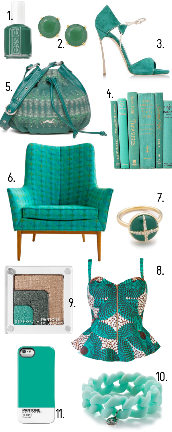 Pantone Emerald Decor and Fashion
