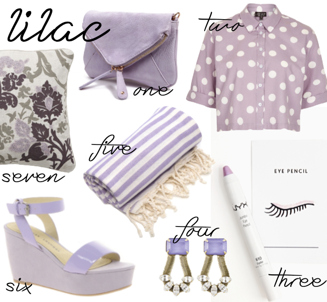 Lilac purple style, shoes, pillows, blankets, earrings, interior design and lifestyle items.