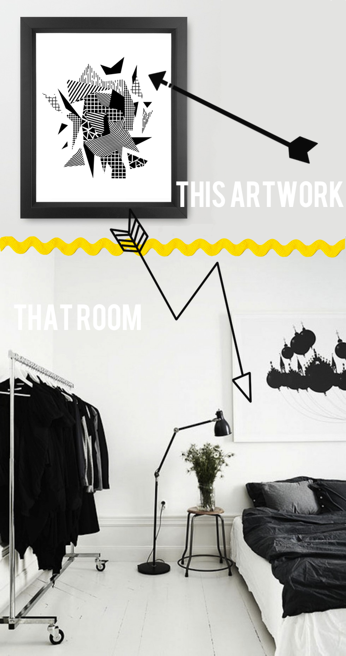 This Black and White Abstract Room That Tappan Collective Print