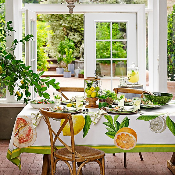 Botanical Citrus Tablecloth from Williams-Sonoma