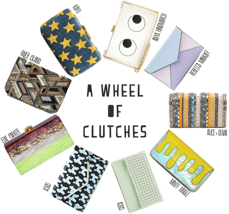 A Wheel of Clutches for your evening bag needs, featuring Kayu, Rebecca Minkoff, ASOS, Alice+Olivia, and more.