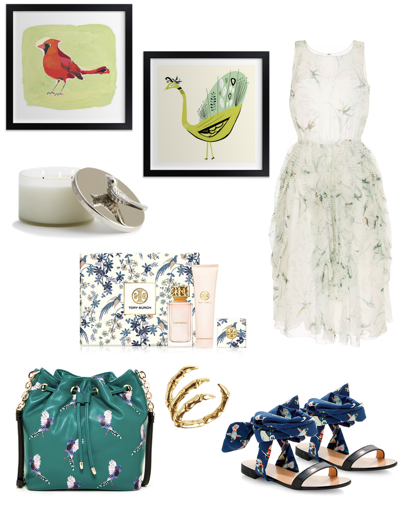Put a Bird on It, clothing featuring birds via Tory Burch, Minted, Rochas, Nordstrom Rack and more.
