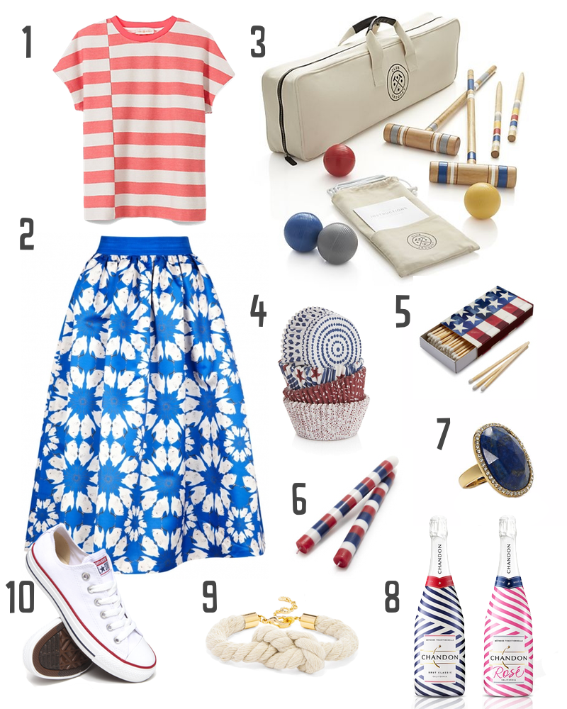 Independence Day themed picnic options featuring Converse, Sur la Table, Kate Spade, Baublebar, Chandon and more!