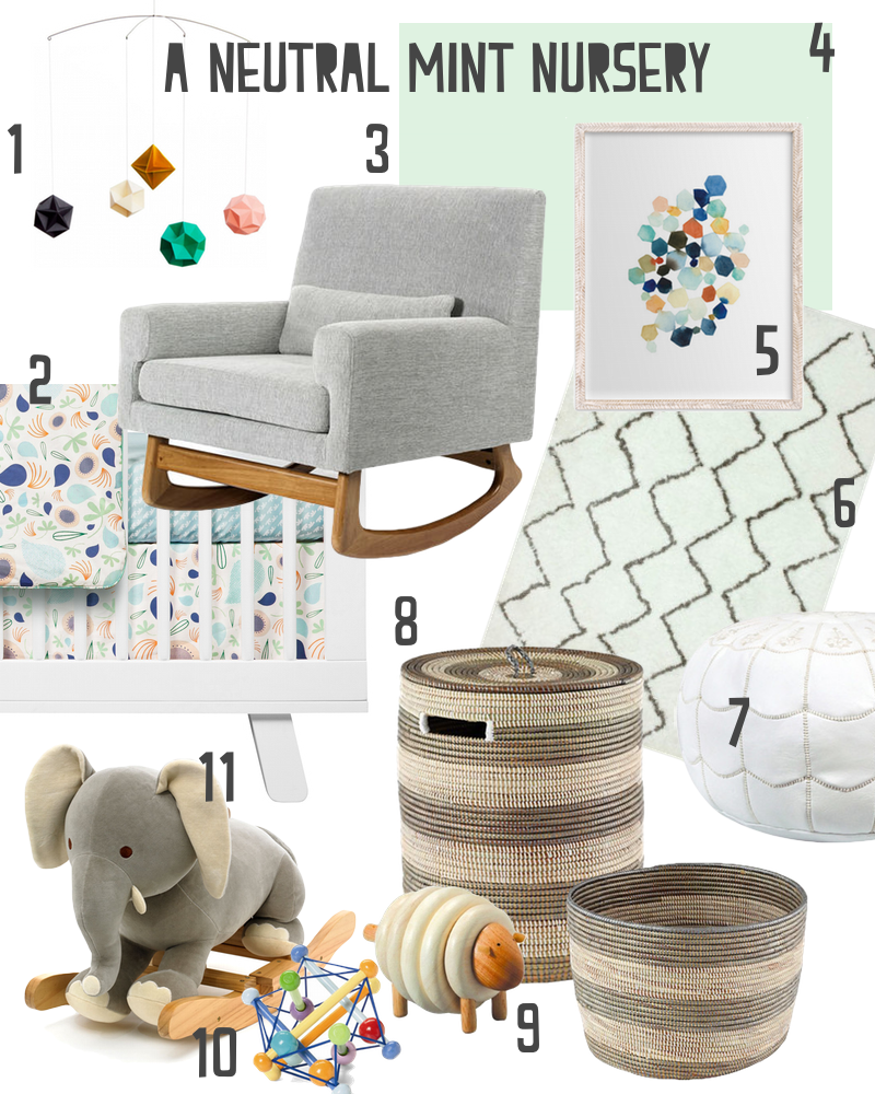 A Modern, Gender Neutral Mint Colored Nursery